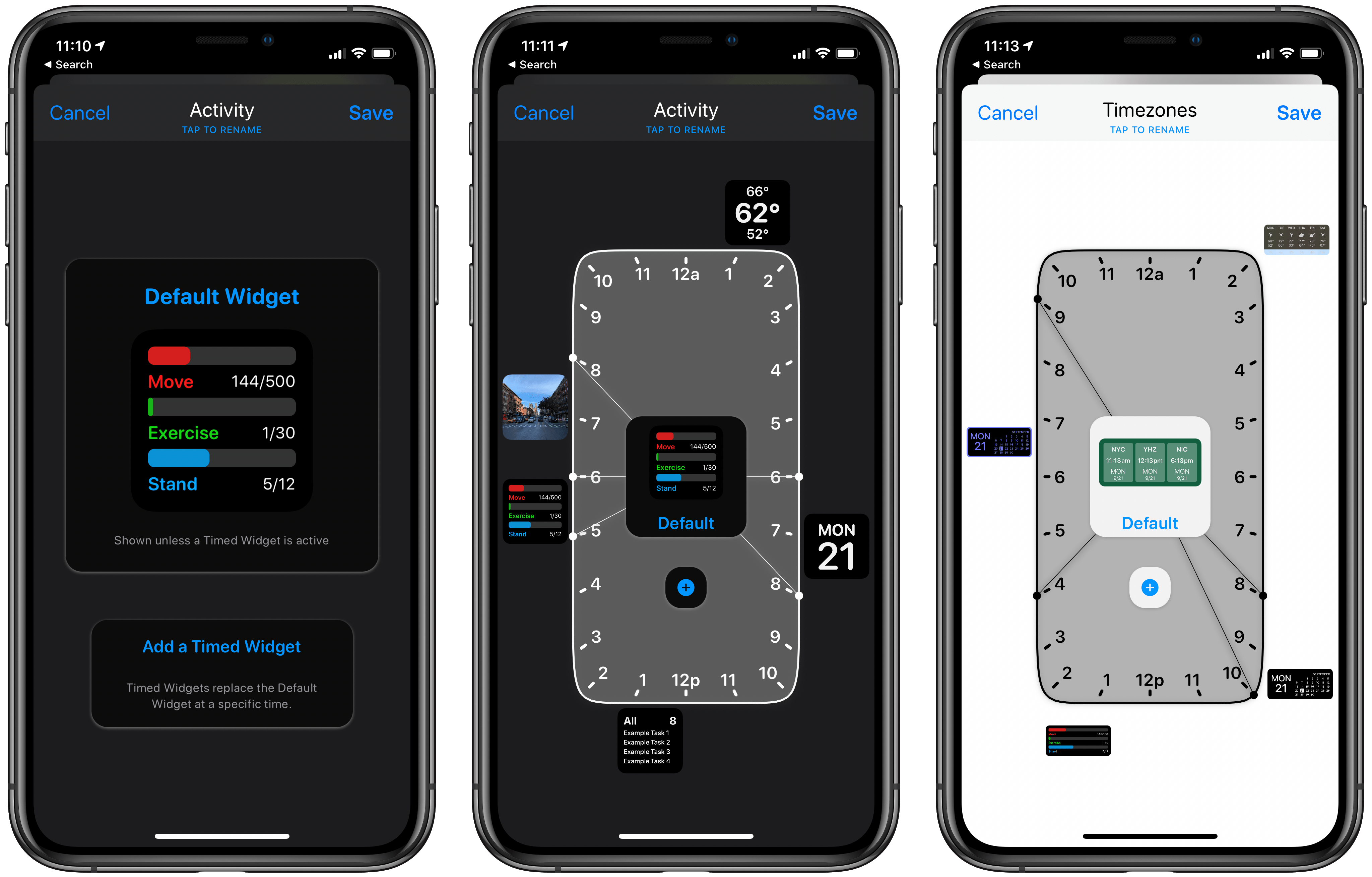 Scheduling widget setups for different times of day.
