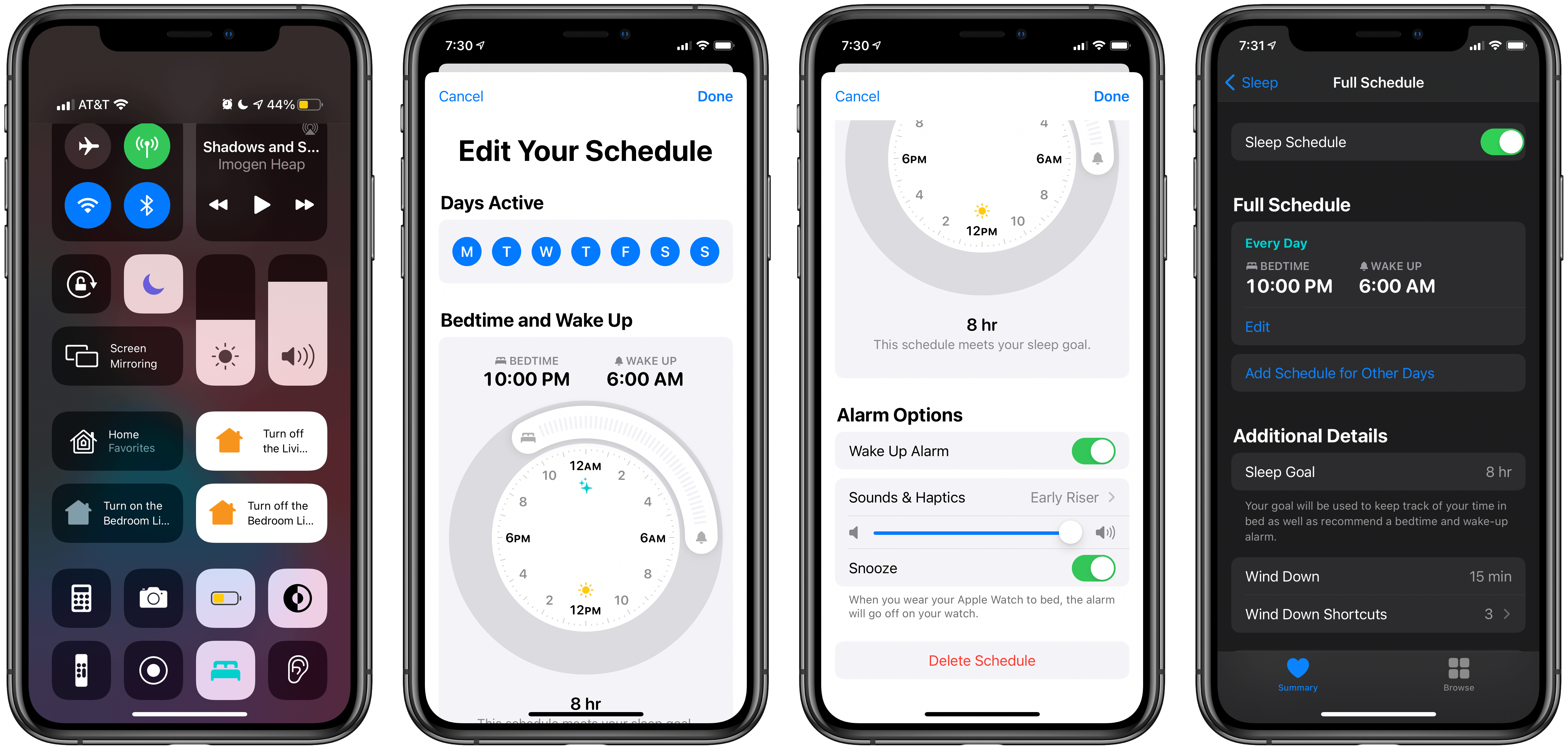 Toggling sleep mode in Control Center (left) and setting up a sleep schedule.