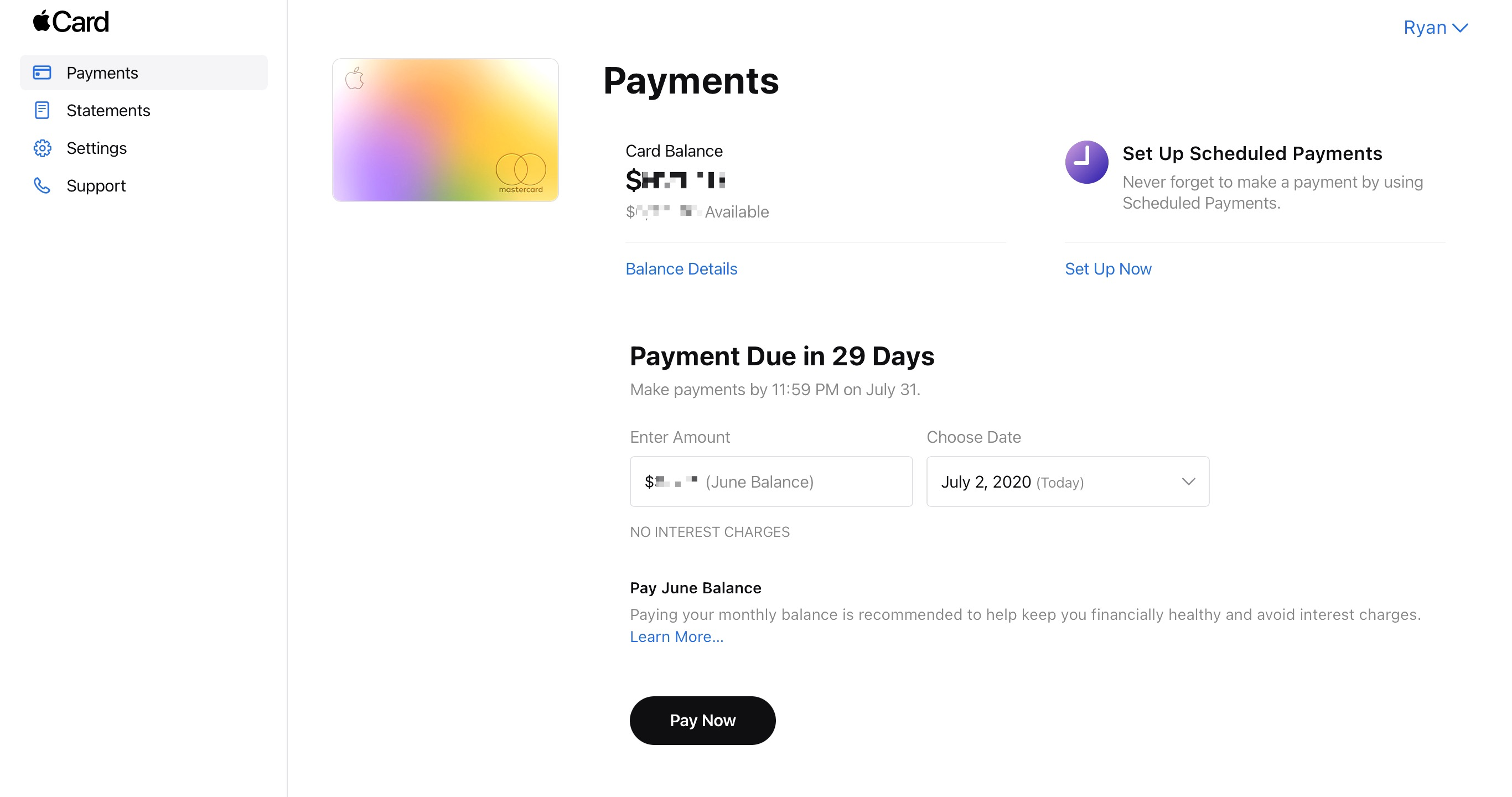 Apple Card owners can now make payment on their computer, too