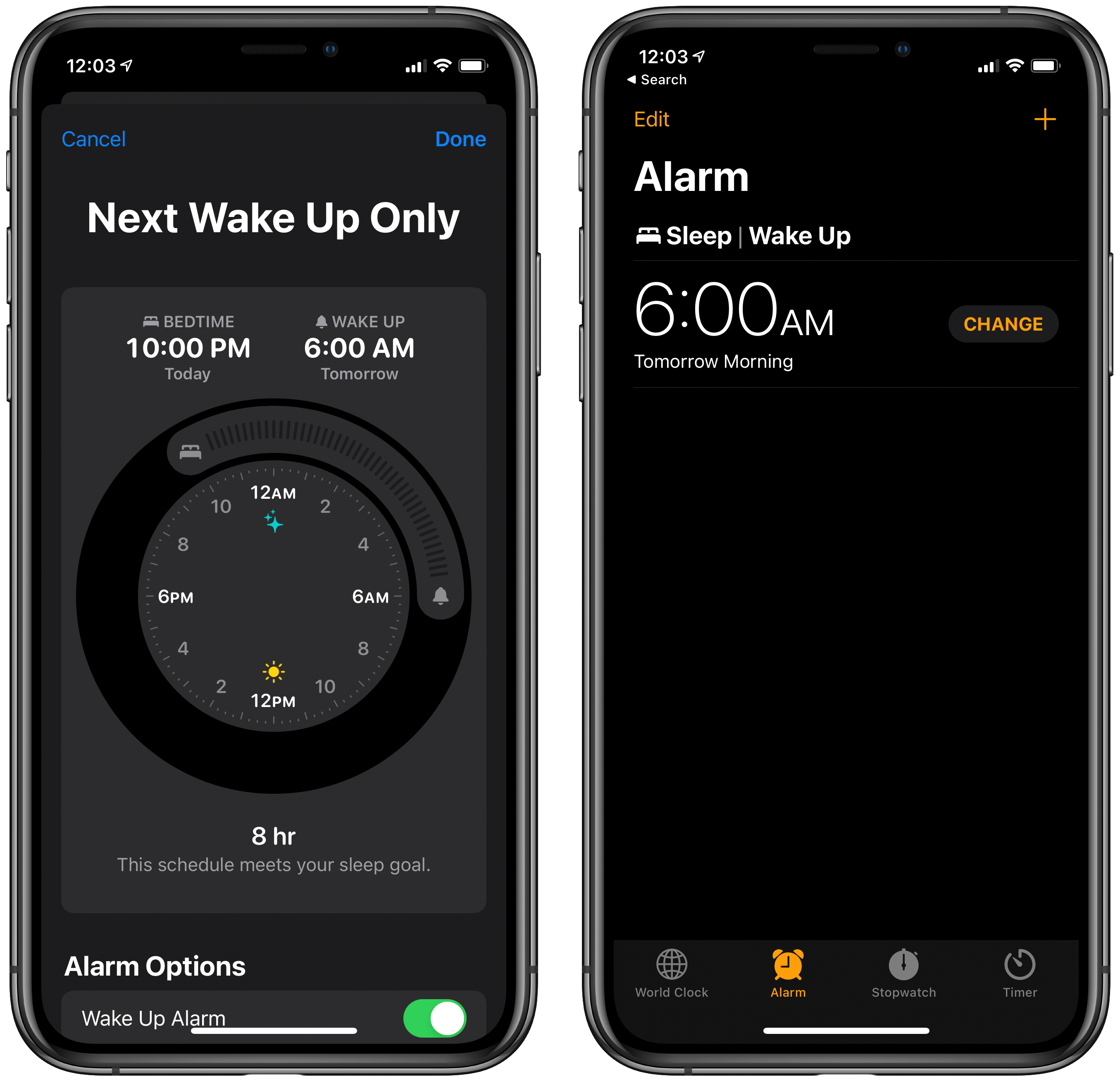 Modifying the next wake up in Health (left) or Clock (right).
