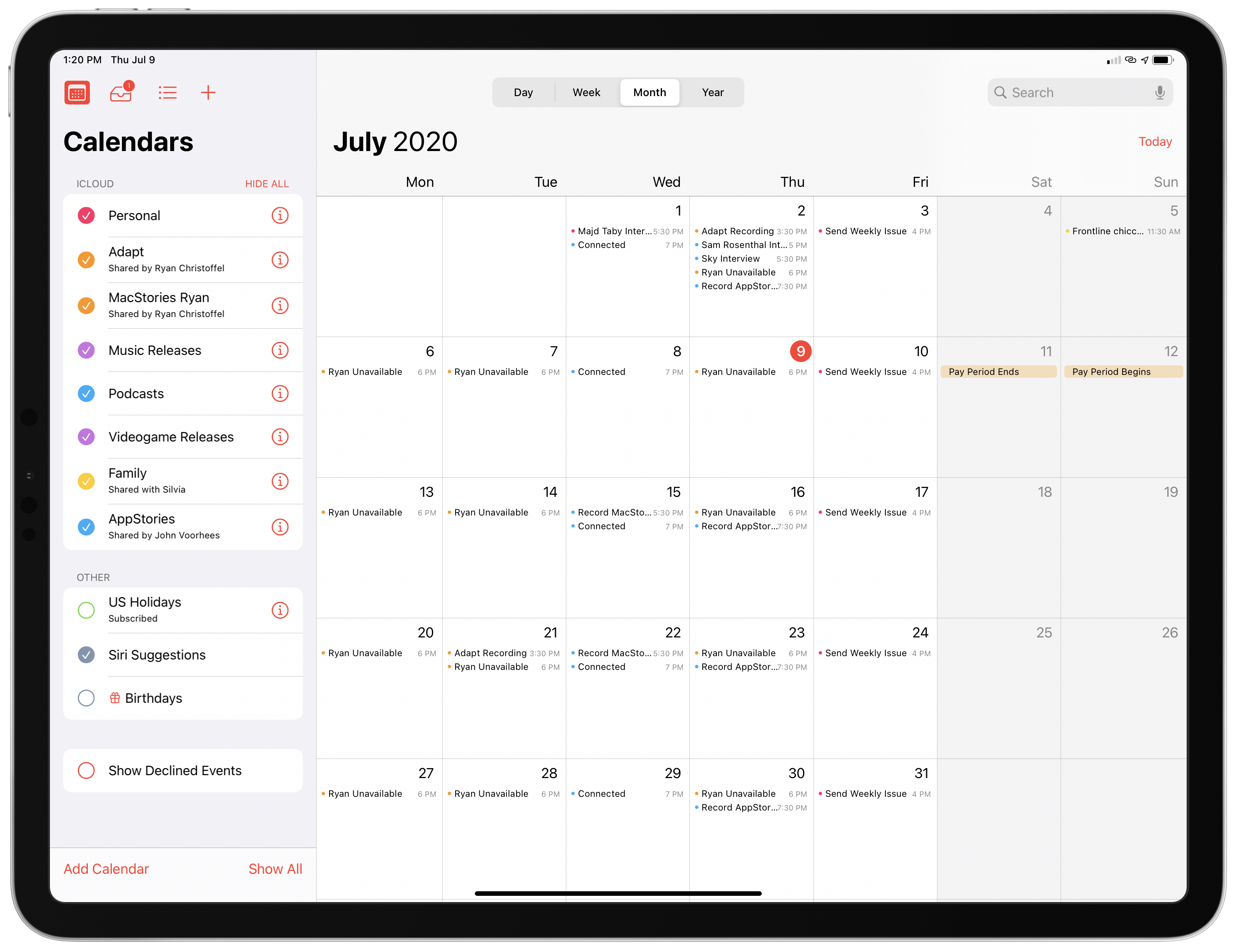 The updated Calendar app in iPadOS 14 makes it easier to switch between selected calendars.