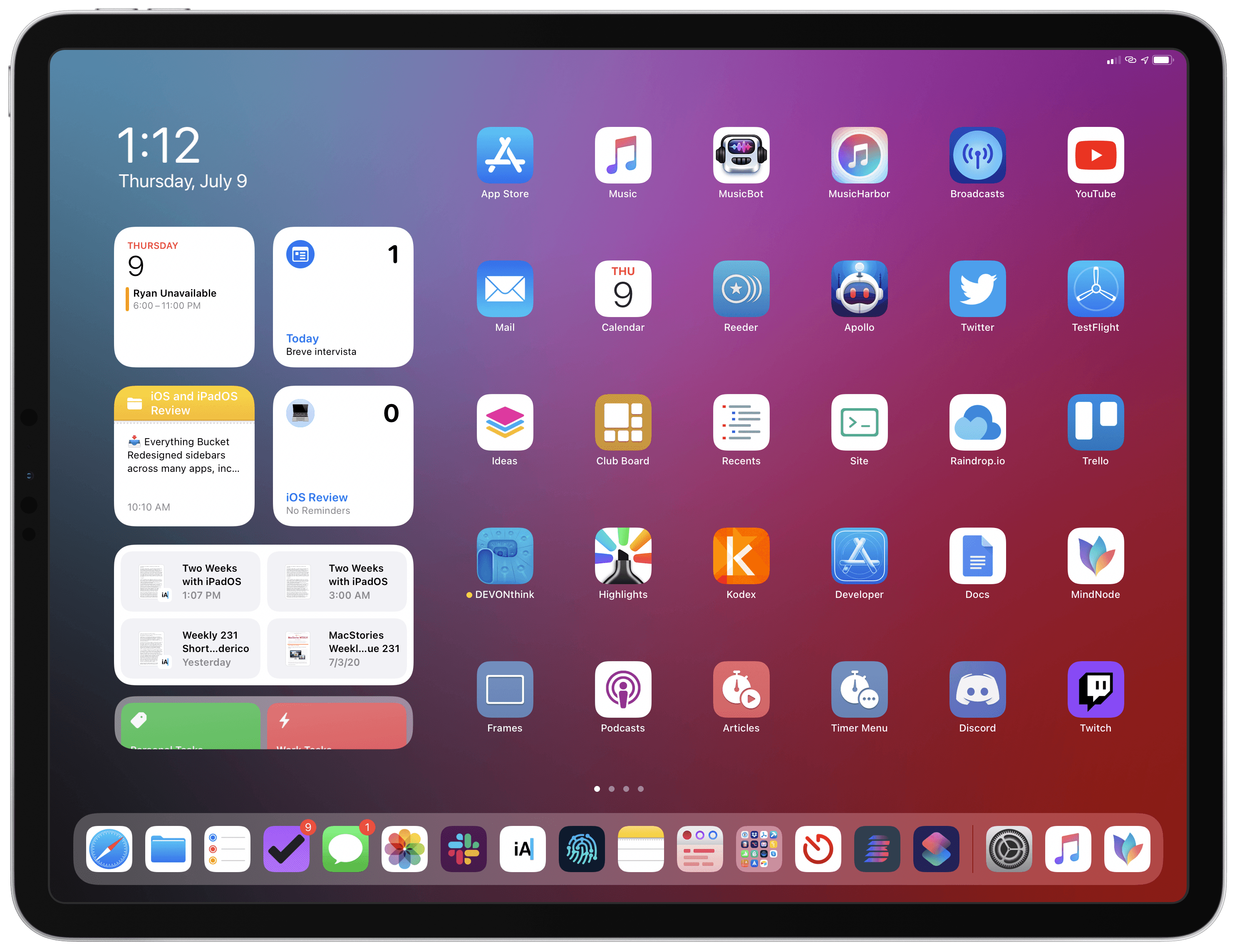 My iPadOS 14 Home Screen.