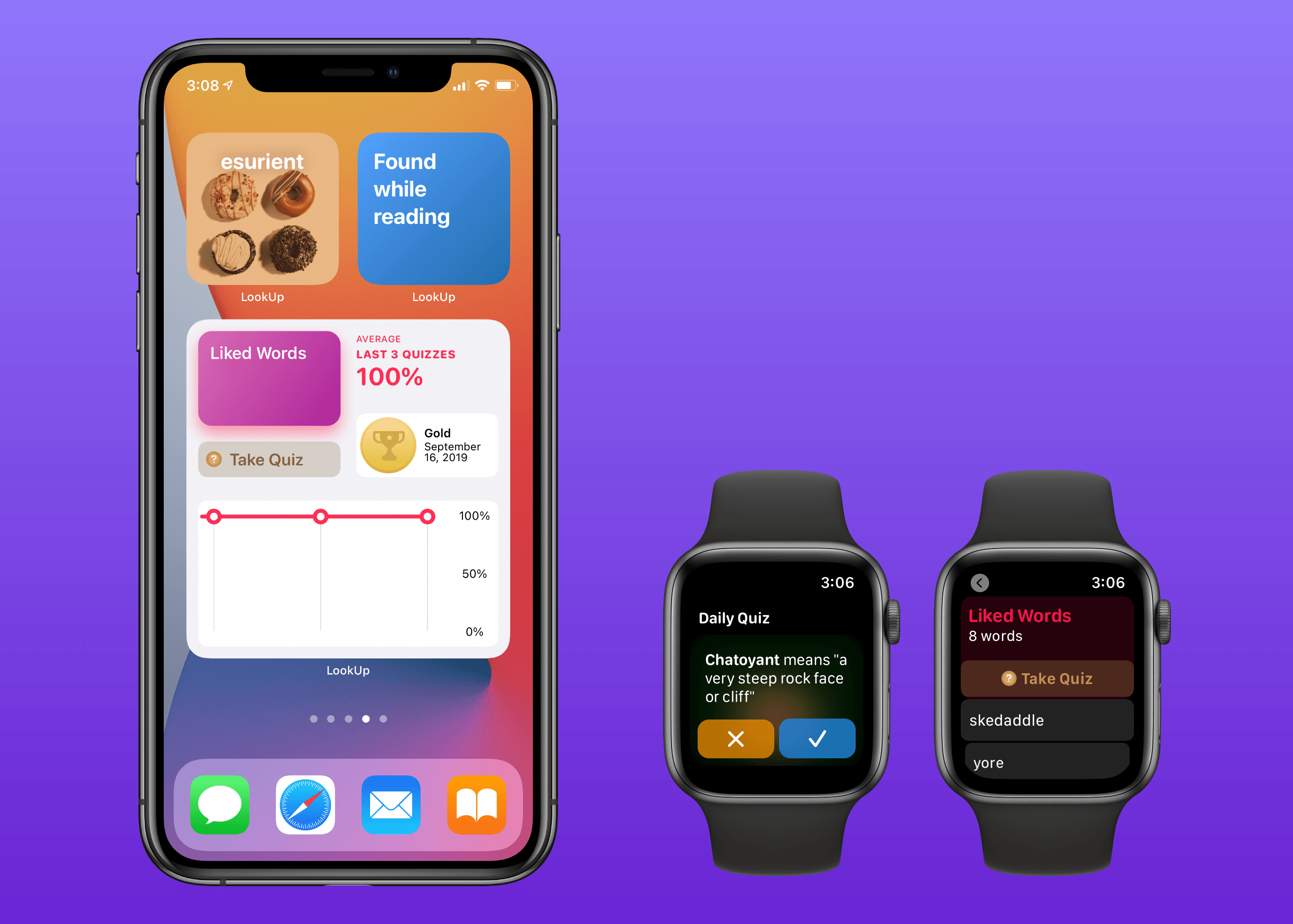 LookUp's new widgets and watchOS app.
