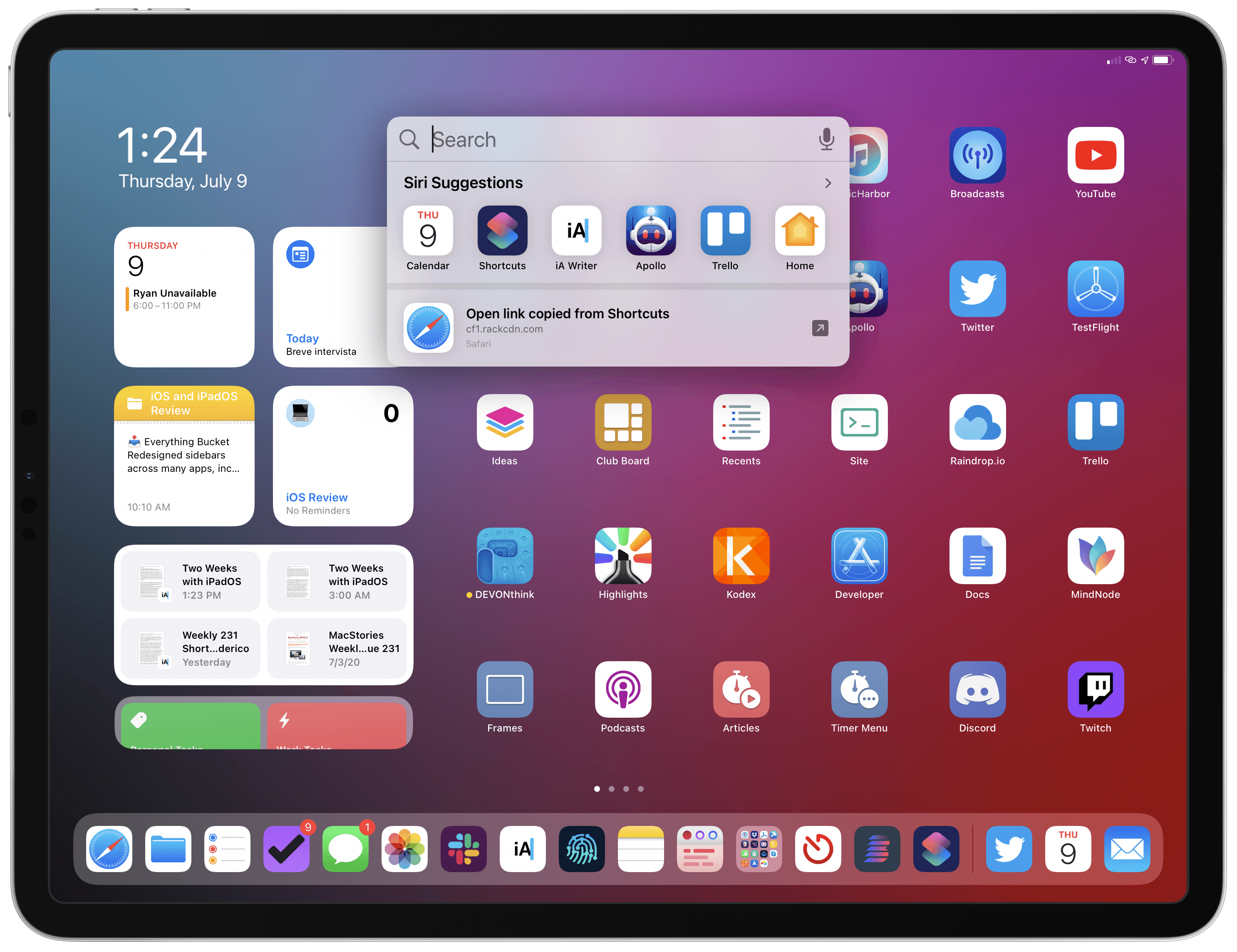 The new Search feature in iPadOS 14. Unfortunately, it's still impossible to activate Search inside apps if you're not using an external keyboard.
