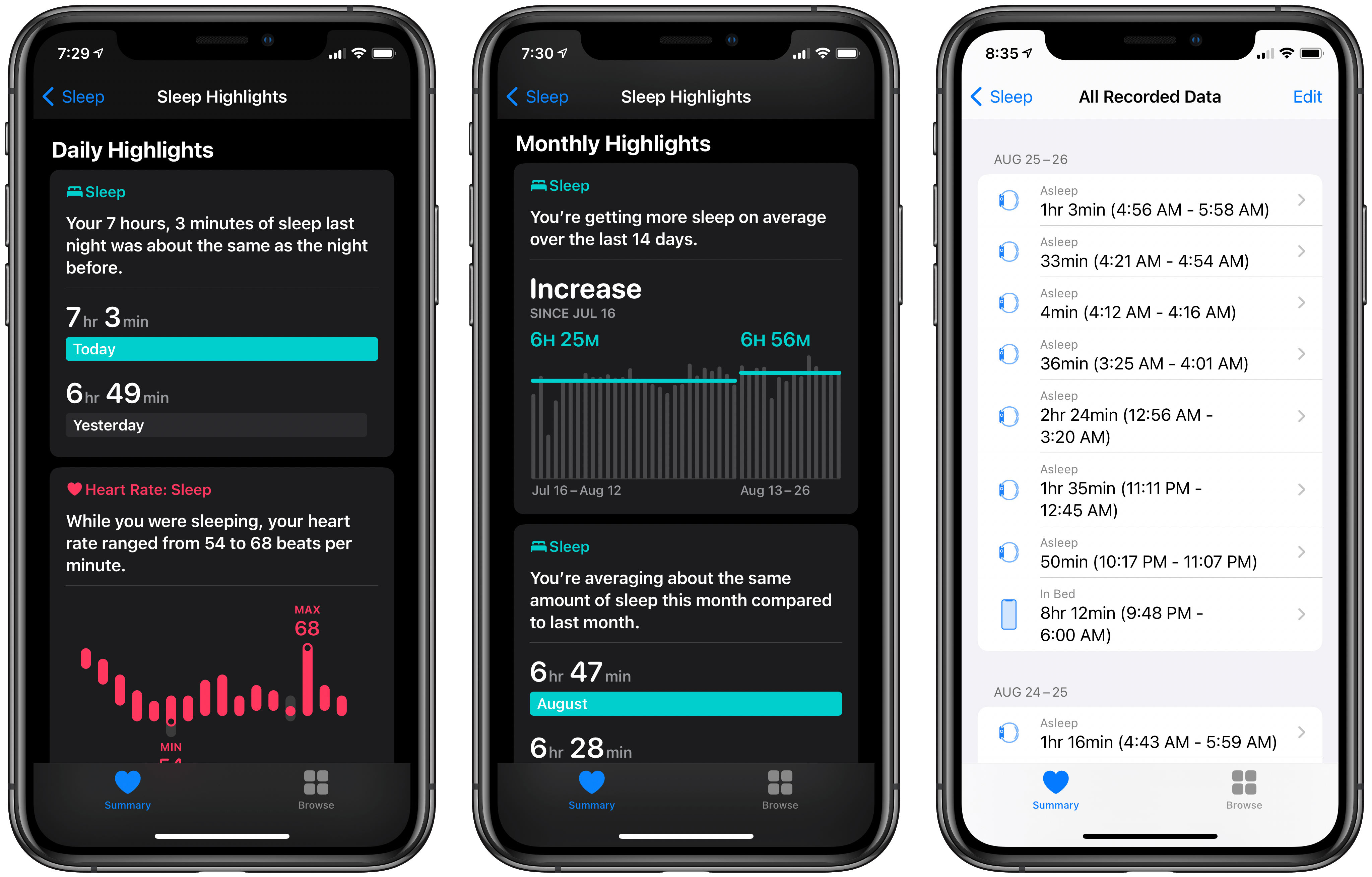 Sleep highlights (left and center) and viewing all data (right).