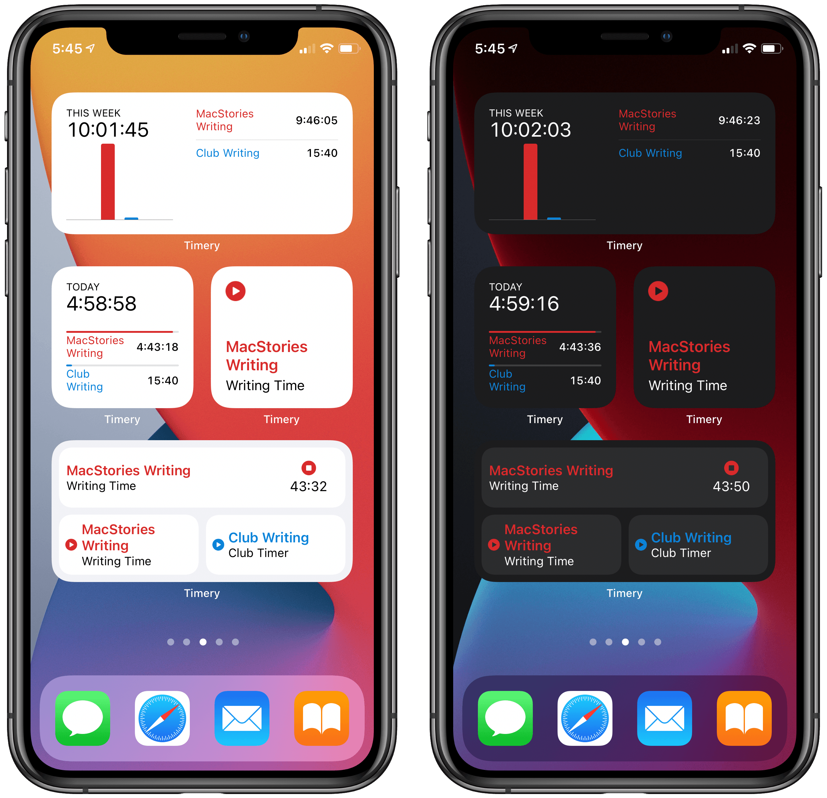 Timery's iOS 14 widgets in light and dark mode.