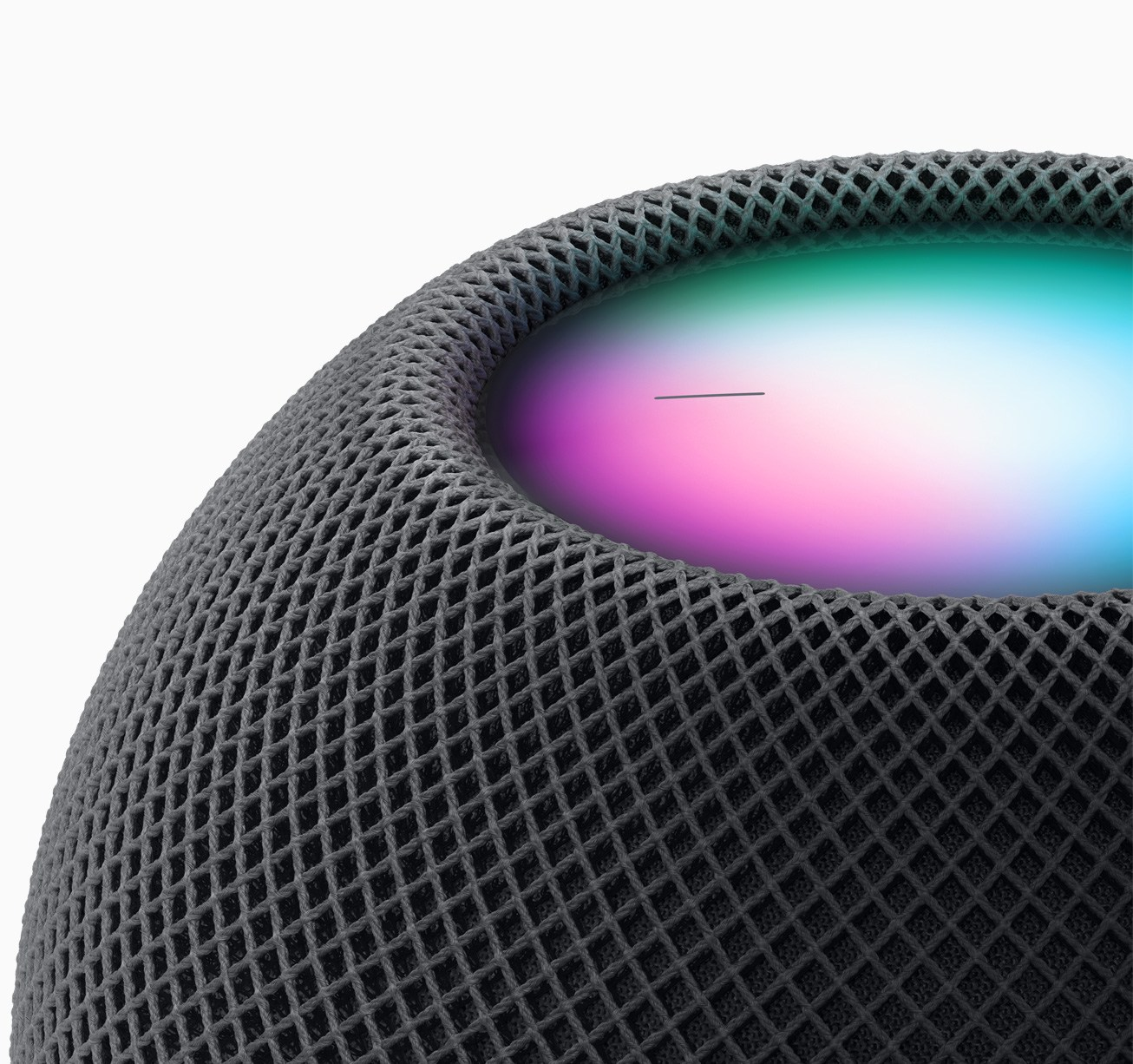 The HomePod mini is wrapped in an acoustic fabric. Source: Apple.