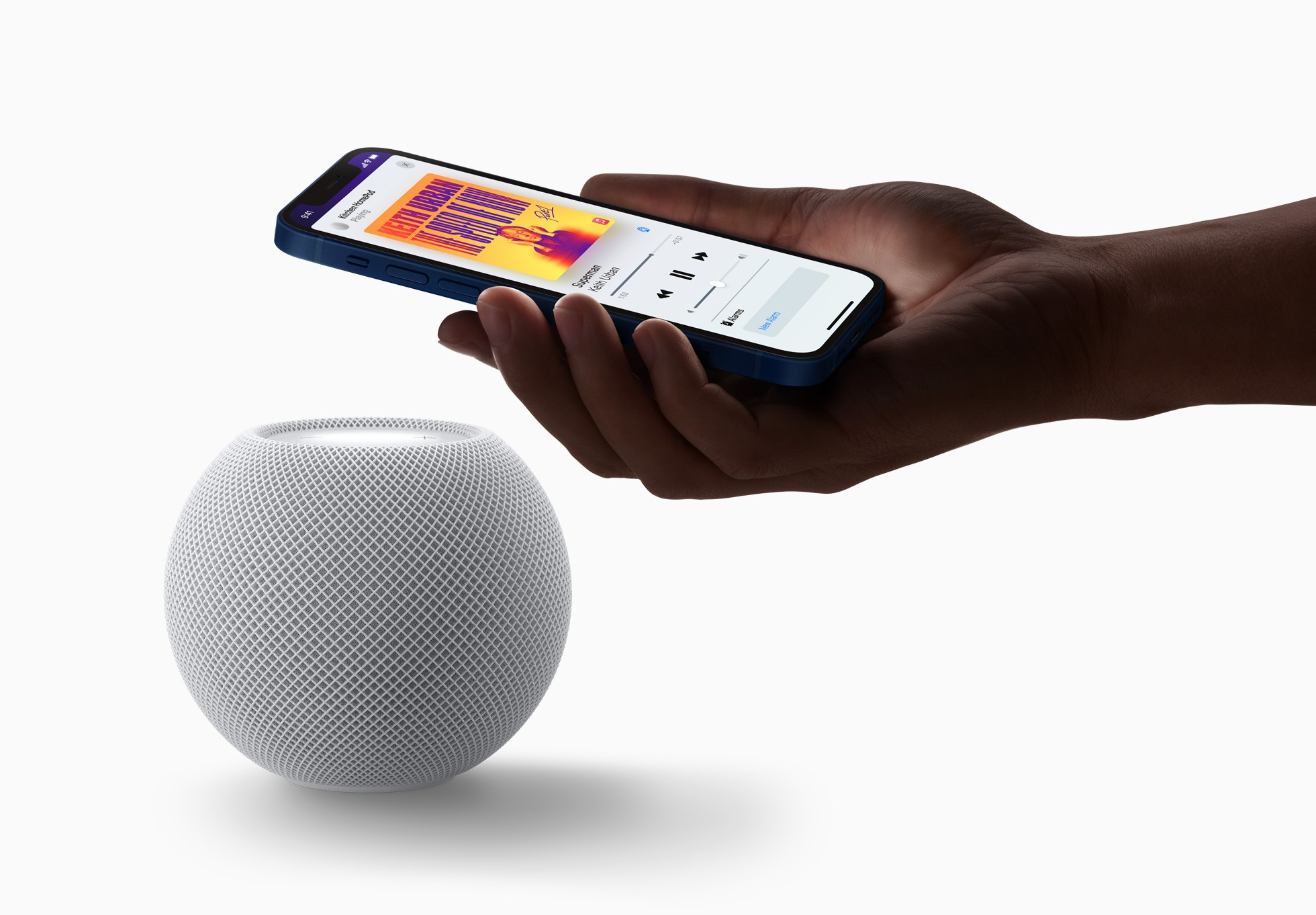 Passing music to and from a HomePod mini is easy with the U1 chip. Source: Apple.