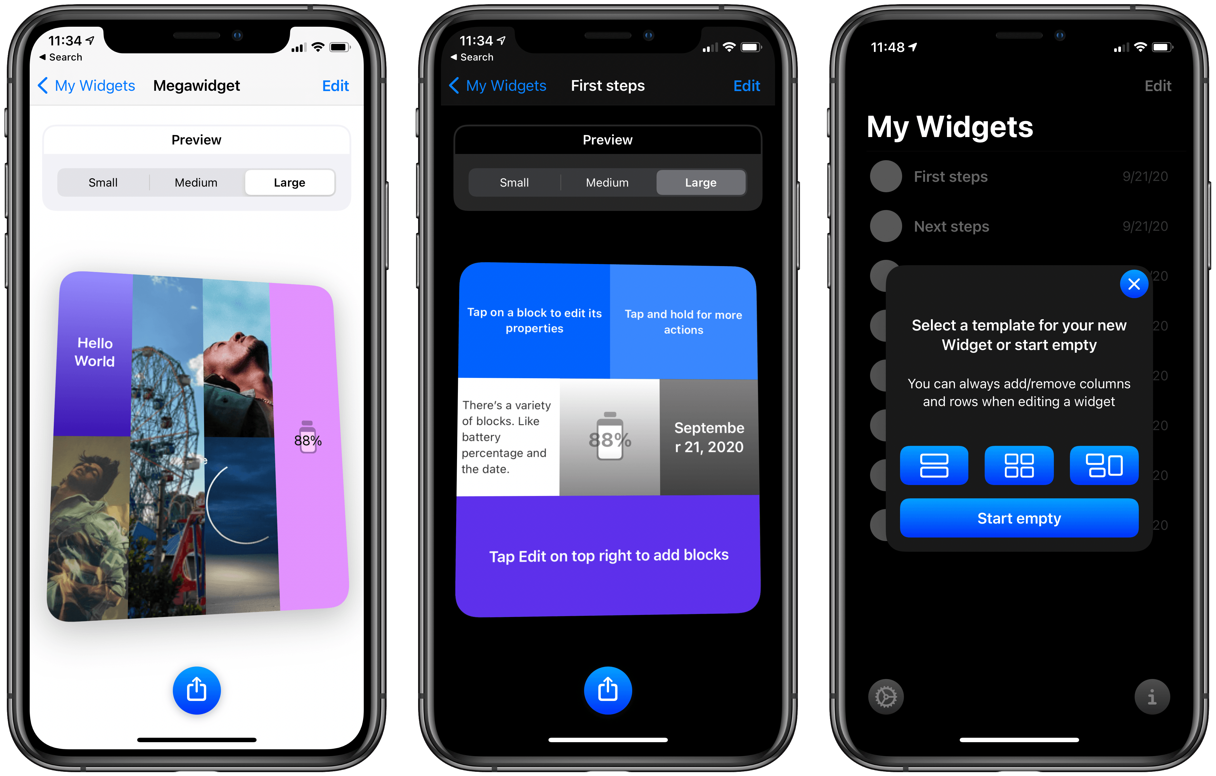 Widget layouts offer multiple content blocks in a single widget.