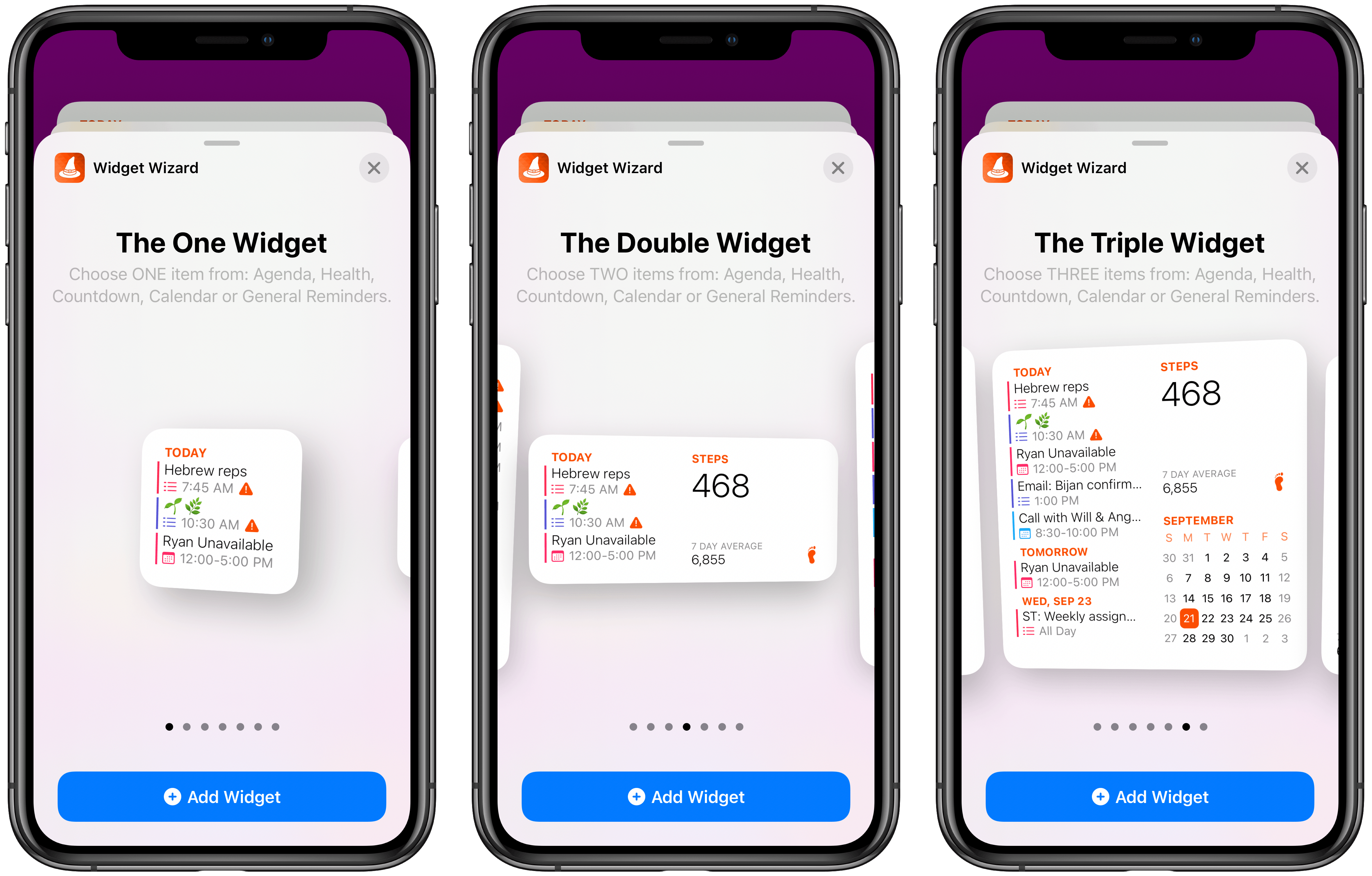 The three main widget types of Widget Wizard.
