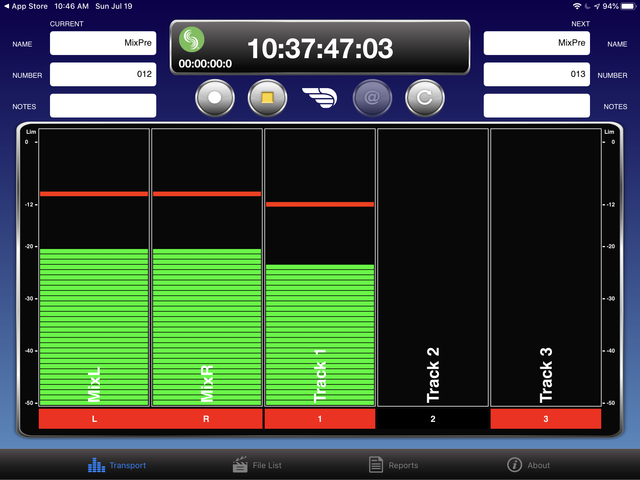 Monitoring levels on my iPad mini using Sound Devices' Wingman app.