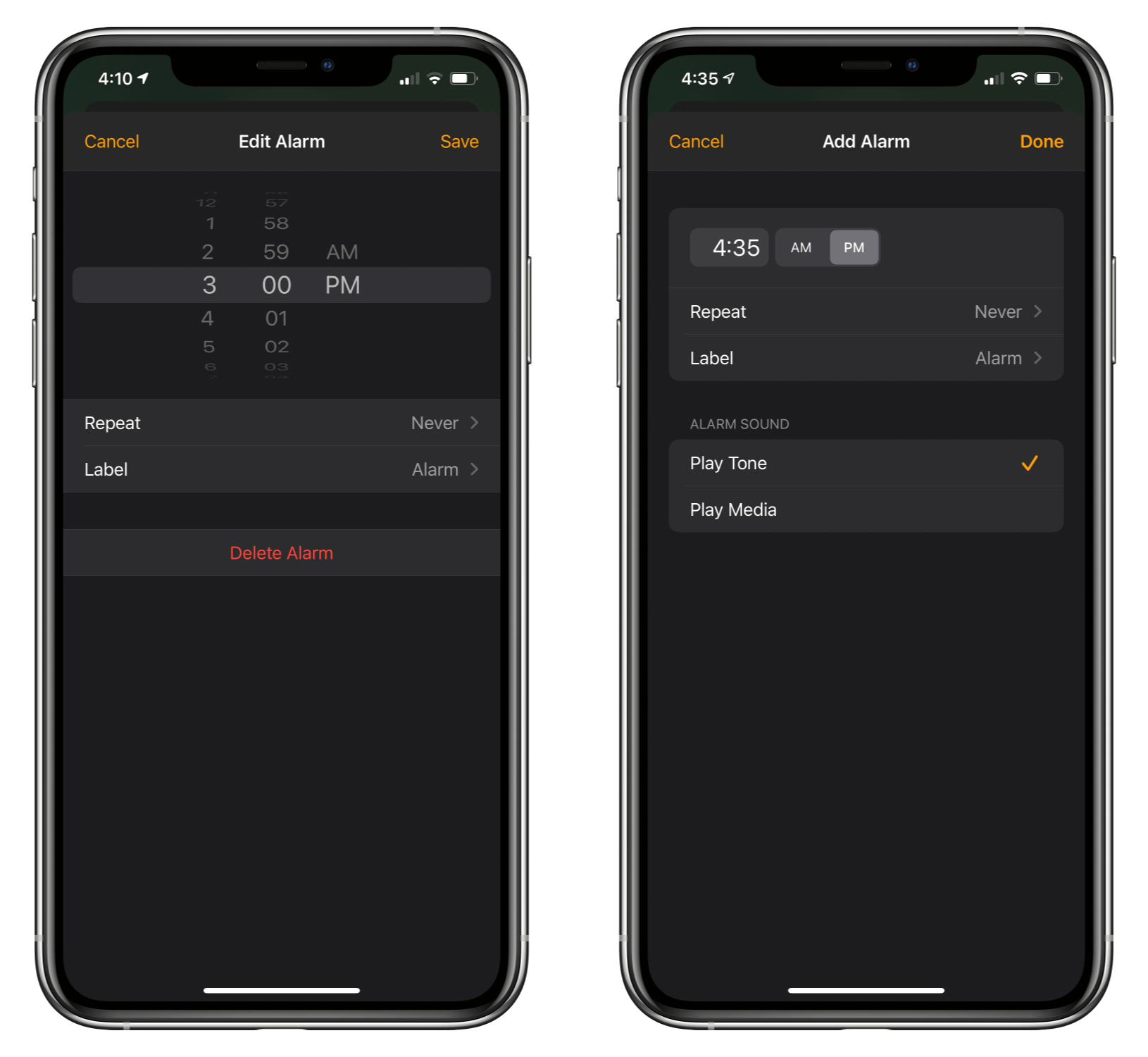 The HomePod alarms UI in iOS 14 (left) and iOS 14.1 (right).