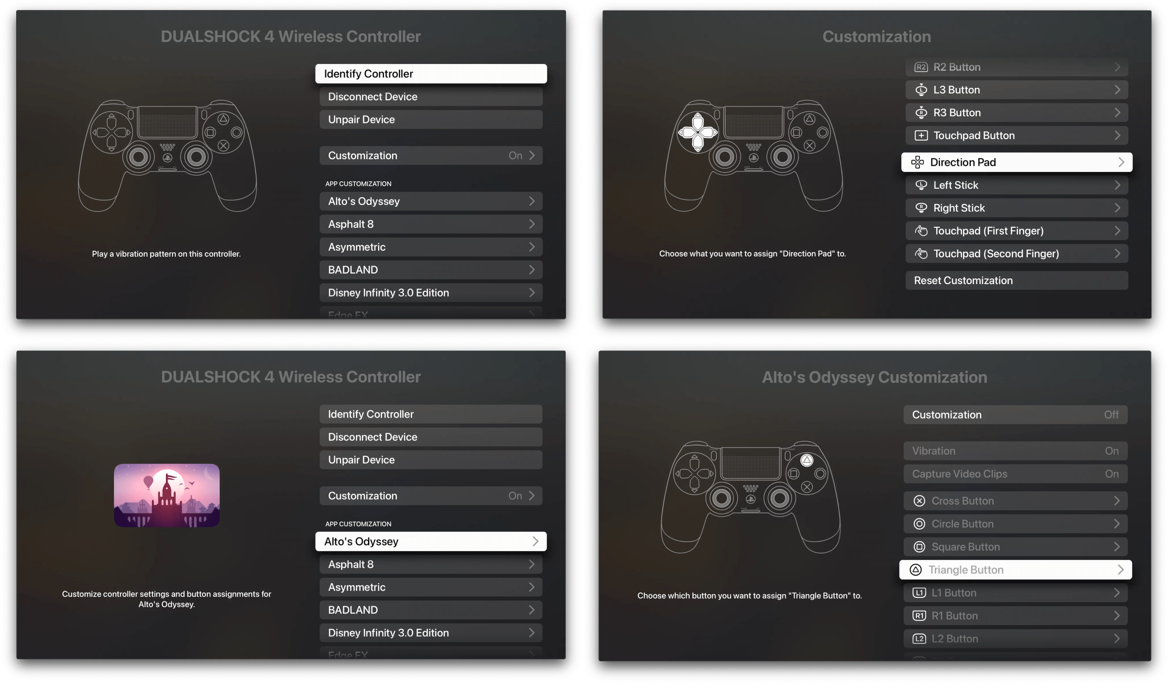 Remapping controller inputs globally and per-game on the Apple TV.
