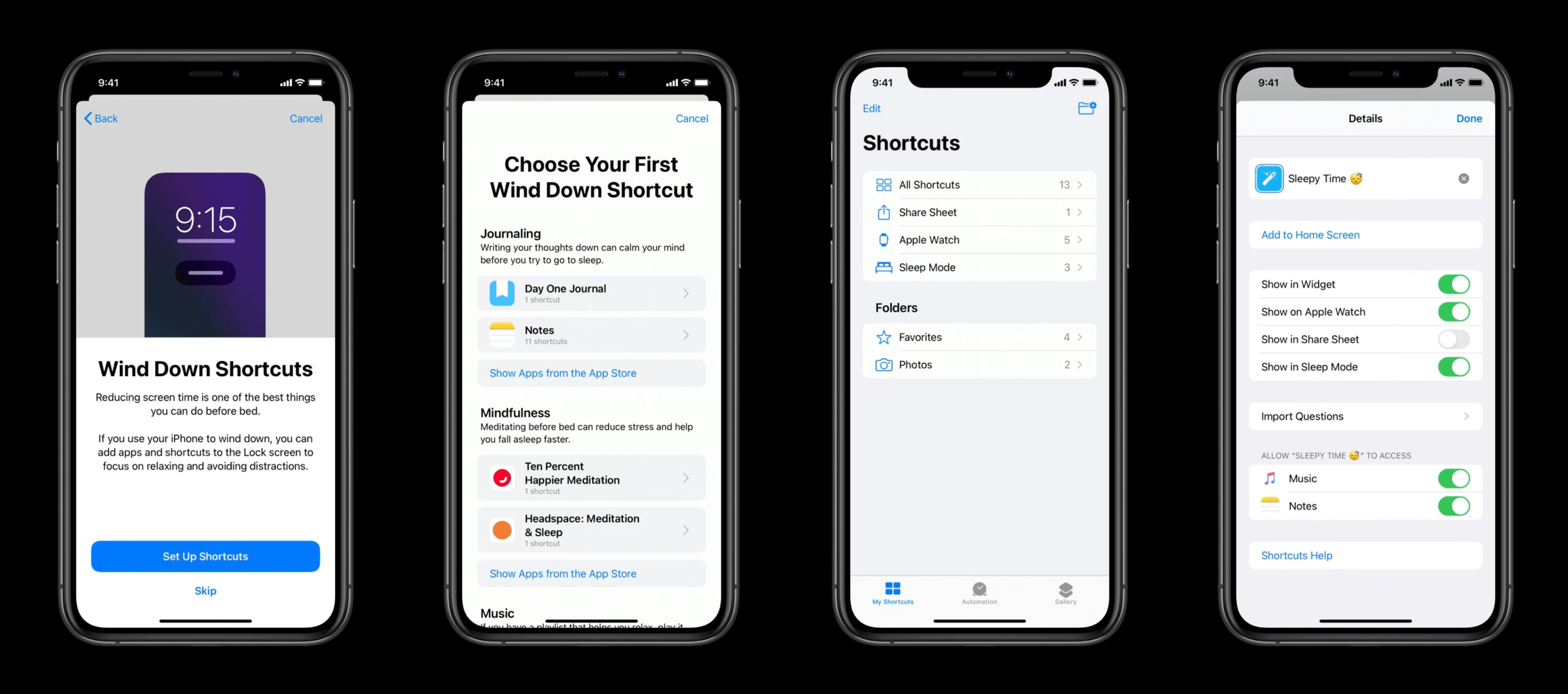 Wind Down setup (left) and configuring Wind Down shortcuts in the Shortcuts app (right).