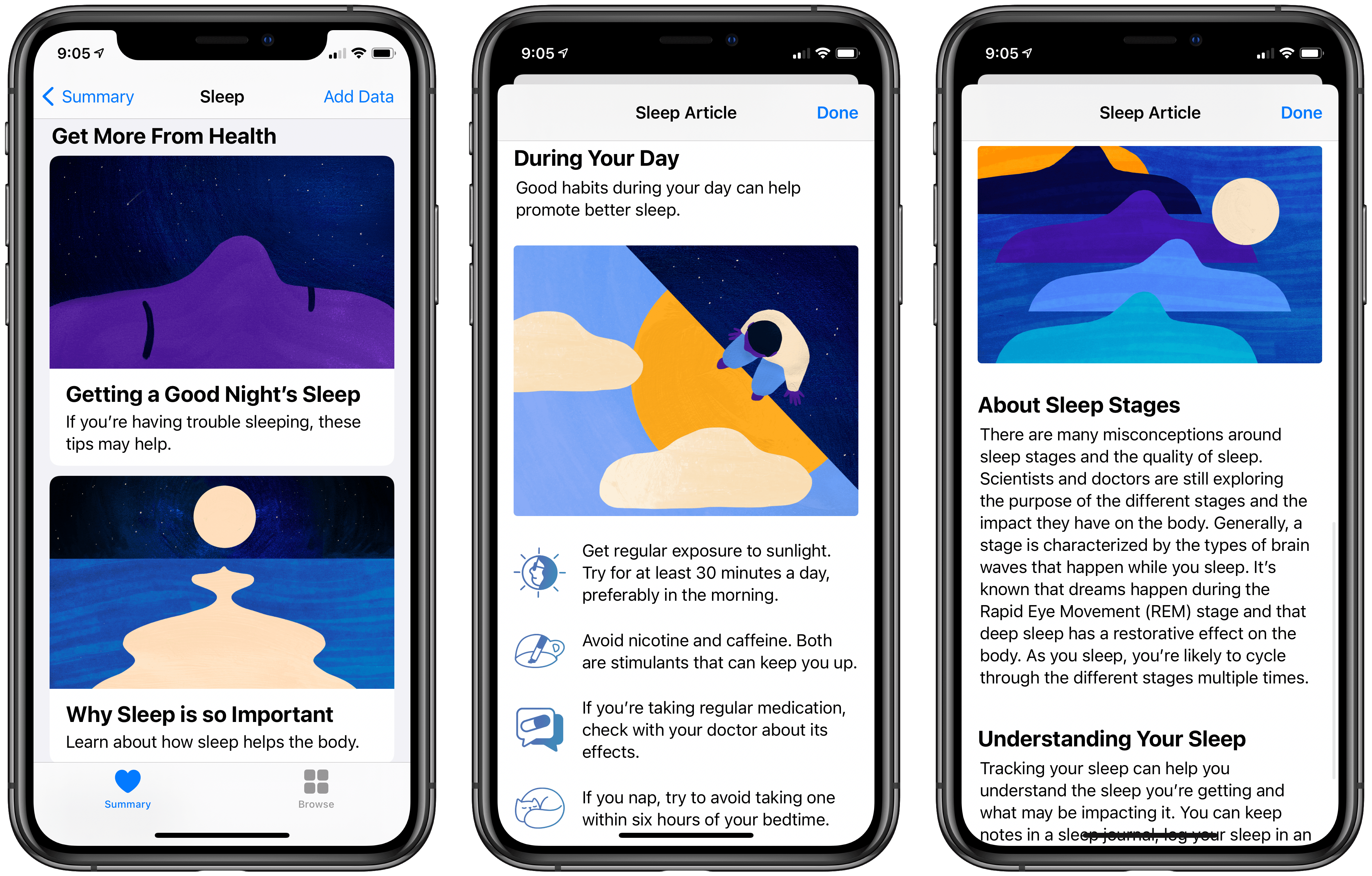 Articles on sleep in the Health app.