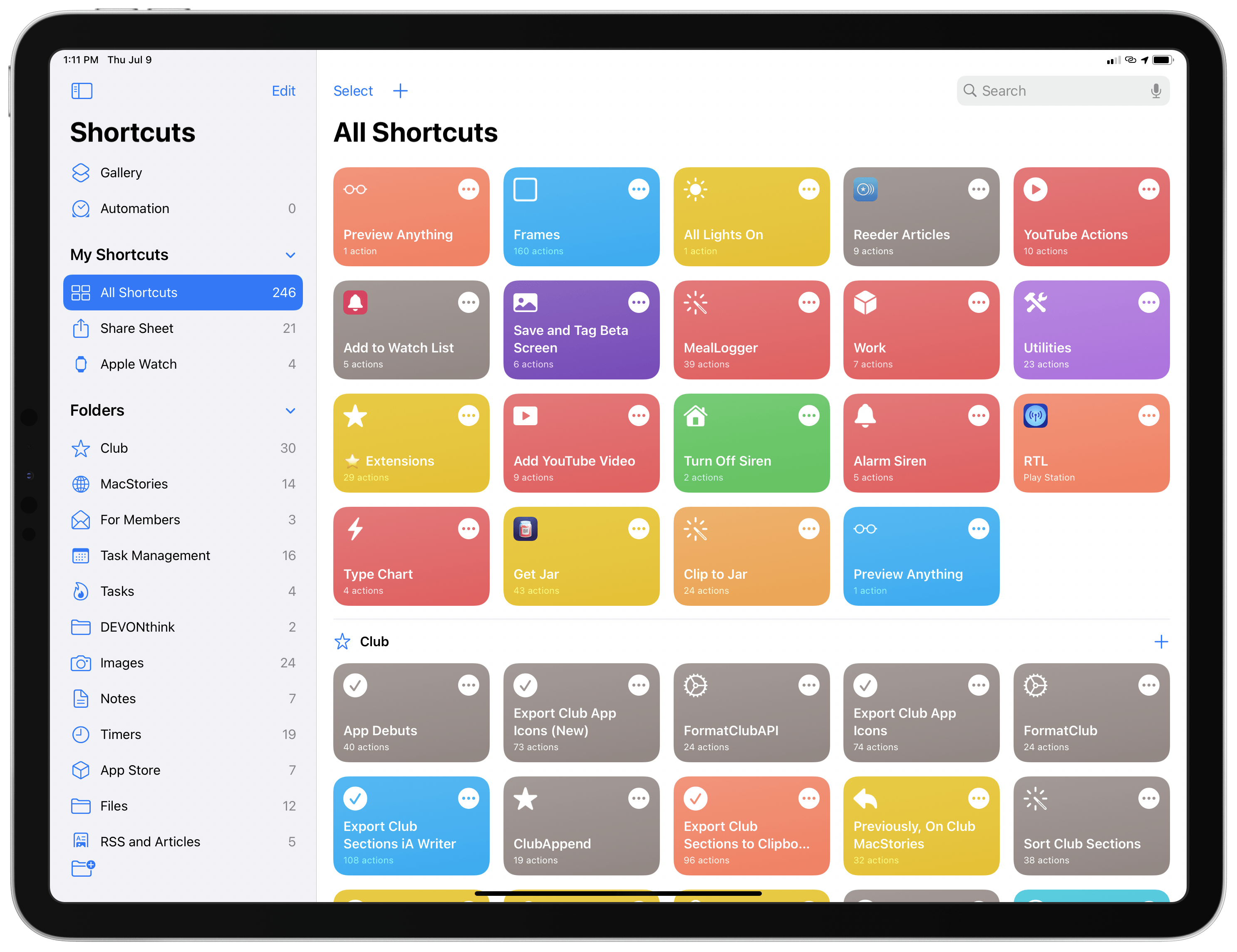 Folders have finally come to Shortcuts in iOS and iPadOS 14; on iPad, folders are available in the app's new sidebar.