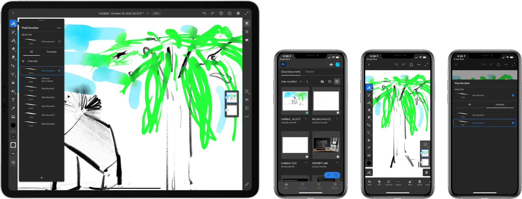 Adobe has added seven charcoal pencils and an all-new iPhone version of Fresco.